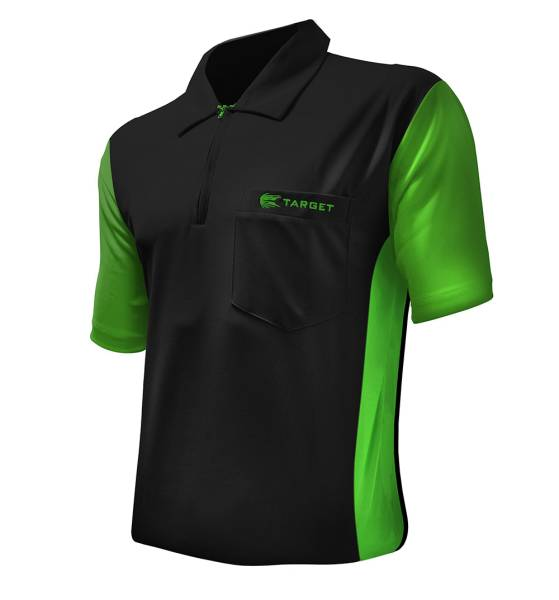 Target Coolplay 3 Dart Shirt - BLACK & LIGHT GREEN